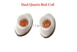 Wholesale micro g wax - DHL Dual Quartz ceramic Coil Dual replacement Coil head for elip micro g Atomizer Tank wax Replacement Core Head electronic cigarette