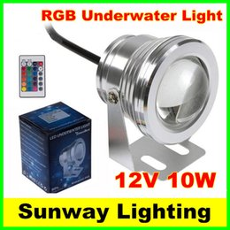 Wholesale 24 Volt Led Lighting - 10W Waterproof swimming pool lights LED Underwater Spotlight 12 Volt RGB led light bulb with 24 Key IR Remote Controller free shipping