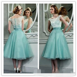 tea length vintage style dresses Coupons - 1950's Vintage Hepburn Style Tea Length Party Dresses With Bateau Neck Cap Sleeves Mint Green Organza Lace Retro Short Prom Cocktail Dress