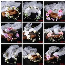 Wholesale Handmade Ribbon Headbands - New Arrival Flower Headpiece Wedding Flower Headband With White Veil Wreath Flower Crown Handmade Bride wedding Hair Accessories