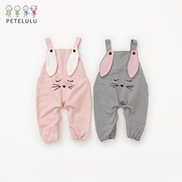 Wholesale Baby Boy Suspender Trousers - New 2018 Cute baby Overalls pants Kid Boys Girls Infant Suspender Pants Cartoon Mouse Kids Clothes Pant Casual Trousers Pink grey A7971