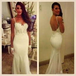 Wholesale Sheer Ankle Length Robe - Backless Mermaid Wedding Dresses 2018 Spaghetti Straps Lace Mermaid Long Sexy Style Bridal Gowns robe de mariage