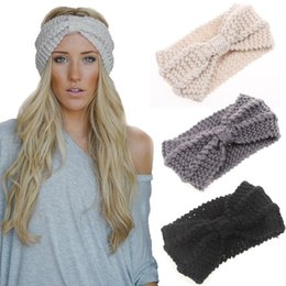 Wholesale Womens Wholesale Knit Headbands - Womens Ladies Wool Stretch Hair Bands winter Hair band Flower Winter Ear Warmer Handmade headbands 9 color Adult Headwrap D695L