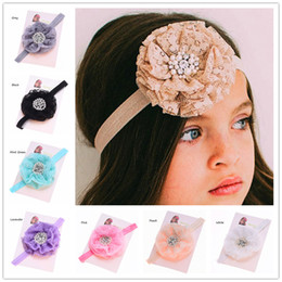 Wholesale First Baby Shower - 30 pcs Baby Hair flowers Headband Lace flower hairband Cheap Hair Bows Fancy Headwear Baptism baby Shower First Birthday Gift