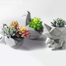 Wholesale Modern Spaces - Dunxdeco 1pc Modern Grey Geometric Space Art Pelican Squirrel Resin Multifunction Succulent Flower Pots Garden Decor Display