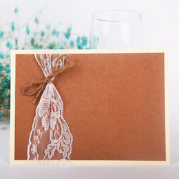 Wholesale Wedding Invite Cards Free - Rustic Inviting Card Paper Baby Shower Wedding Elegant Romantic Jute Lace Decor Wedding Invitations Free Shipping ZA5528