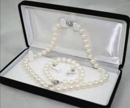 Wholesale White Akoya Cultured Pearl Necklace - Hot Sale Natural White 9--10mm Akoya Cultured Pearl bracelets necklace earrings set