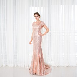 Wholesale Trumpet Wedding Dress Rose Ruffle - Real Photo Rose Gold Long Mermaid Bridesmaid Dresses 2017 Short Sleeve Scoop Neck Floor Length Sequins Backless Formal Prom Wedding Gown
