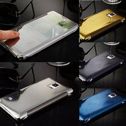 Wholesale Smart Cover Case S4 - For GALAXY S6 Edge S6 S5 S4 S3 Note 4 3 2 A8 A7 A5 E7 E5 J7 Luxury Clear View Mirror Case Official 1:1 Flip Smart Phone Cases Cover