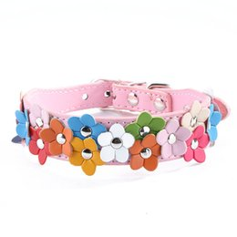 Wholesale Pet Buckle Collars - Puppy Collar Leather Pet Dog Collar Cat Buckle Flower Designer Sweet Neck Strap