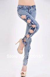 Wholesale Side Bow Cutout Ripped - Wholesale-Free Shipping Classical Vintage Detailed Woman Side Bow Cutout Ripped Denim Sexy Jeans Jeggings P2015
