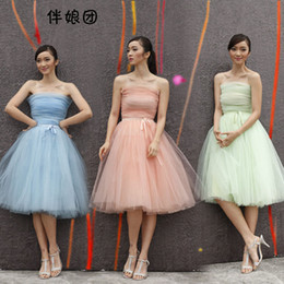 Wholesale Dresse For Wedding - High Quality Simple knee length wedding dresse Sleeveless Bridesmaid Dresses Beautiful A-Line Forrmal Homecoming Gowns for party