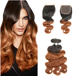 Extensiones de cabello castaño claro online-T 1b 30 Dark Root Light Auburn Extensions Indian Ombre Body Wave Hair 3 Bundles con cierre de encaje Virgin Human Hair Armadura