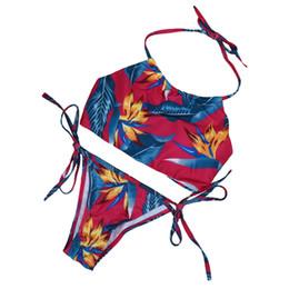 Wholesale Bandeau Push Up Swim - 2016 Summer Swimwear Women Swimsuit Bandeau Padded Push Up Bra Halter Print Push-Up Sexy Bikini Brazilian Set Swimming Suit