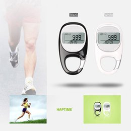 Wholesale Active Walking - LCD Display Step Calorie Counter Walking Motion Tracker Run Distance Outdoor Sports 3D Pedometer Carabiner 7-day Active Memory order<$18no t