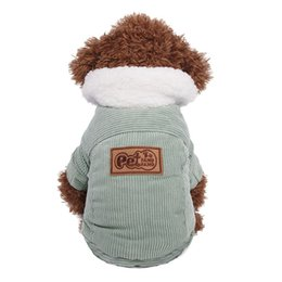Wholesale Cute Outfits For Boys - Teddy jacket dog cotton corduroy jacket puppy outfits autumn and winter cute dog clothes dog clothes for small dogs boy