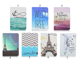 Wholesale Ipad Mini Eiffel Tower - Eiffel Tower Wave Feather Anchor Pattern Animal Prints For iPad MINI4 Stand Case PU Leather Case
