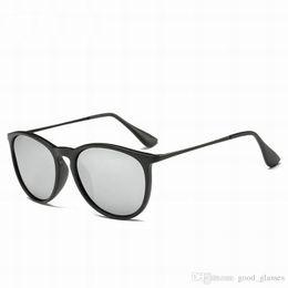 Wholesale round sun - Fashion Men Women Erika Sunglasses Brand Designer Sun glasses Male Gradient Lenses Eyewear Metal Frame Matt Black 1 with cases