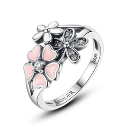 Wholesale band cherry - Real 925 Sterling Silver Pink Flower Poetic Daisy Cherry Blossom Finger Ring for Women Engagement Fashion Jewelry SCR004