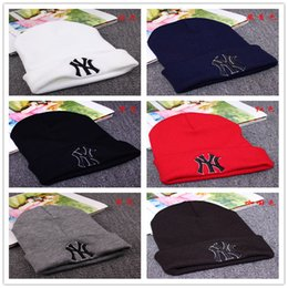Wholesale Beanie Skull Ski Cap Knit - 2015 Winter Warm Knitted Hat NY Letters Embroidered Beanie For Unisex Fashion Outdoor Caps Like Skiing Etc.