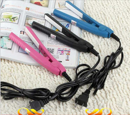 Wholesale Mini Pink Ceramic Electronic Hair - 120pcs lot Electronic 2015 New Professional Hairstyling Mini Portable Ceramic Flat Hair Straightener Irons Styling Tools
