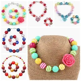 Wholesale Kids Beads For Bracelets - childrens jewelry sets chunky necklace bracelet for kids girls christmas gifts bubblegum beads jewellery toddler birthday party supplies
