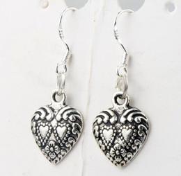 Wholesale Double Fish - Double Dots Hearts Earrings 925 Silver Fish Ear Hook 40pairs lot Antique Silver Chandelier E907 11.5x32mm