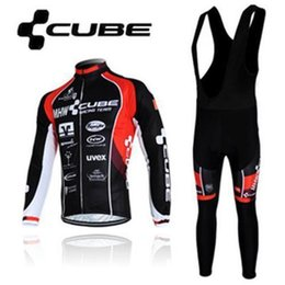 Wholesale Cube Jersey Bib - Cube Pro Team Cycling Jersey Set Colorfast Wicking Moistrue Shirts and Bib Pants with Healthy Pads Mens Cycling Clothes