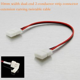 Wholesale Smd Led Dual Color - 10MM Width 2-Pin 2-Conductor Dual-End Strip Connector Extension Wire Cable for SMD 5050 5630 Single Color Led Strip Light