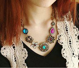 Wholesale European Necklaces Statement - Retro Vintage European Style Gorgeous Austria Turquoise Crystal Flowers Bib Statement Necklace for Wedding Party 045I