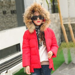 Wholesale White Winter Coats For Baby - 2017 Fashion Girl winter down Jackets Children Coats warm baby 100% thick duck Down Kids Outerwears for cold -30 degree jacket