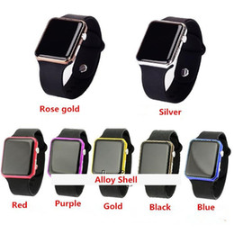 Wholesale Led Watch Wrist Band - 50pcs Square Mirror Face Silicone Band Digital Watch Red LED Watches Quartz Wrist Watch Sport Clock Hours