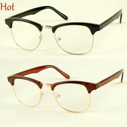 Wholesale Leopard Fashion Frames - 2015 Korean New Retro Casual Plain Glasses Clear Lens Nerd Half Frame Nerd Glasses Fashion Mens Womens Vintage Eyewear Black Leopard 7715