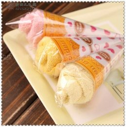 Wholesale Ice Cream Favors - 2015 New Christmas gifts ice cream cake towel 20*20cm Mini Square Cake Towel 100% cotton Towel Wedding Birthday party Favors gifts