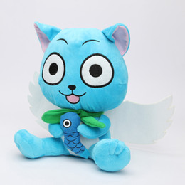 Wholesale Cosplay Cat Tails - 100pcs 9'' 23cm Cute Plush Toys Fairy Tail Blue Happy Cat Soft Plush Toy Doll Anime Cosplay Stuffed Dolls