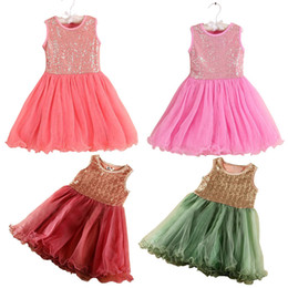Wholesale Usa Length - PrettyBaby girls sequin gauze dress round neck sleeveless vest dress bling tutu skirt princess girls party dress summer certified by CTI-USA
