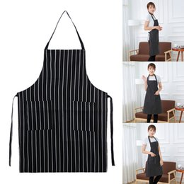 Wholesale Wholesale Aprons For Women - Waterproof Oilproof Stripe Kitchen Apron for Women Men Useful Cooking Apron Grid Adjustable Chef Cloth Accessories with 2 Pocket