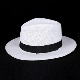 Wholesale Straw Hat Man Panama - Wholesale-Unisex Fashion summer straw hat fedora beach sun hat solid white classic jazz panama hat straw hats For Women Men Free Shipping