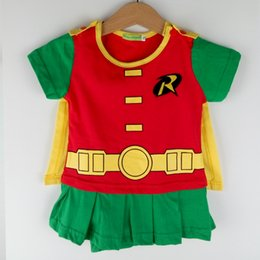 Wholesale Tutu Embroidery - Newborn Baby Girls Romper Batman Robin Costumes Toddler With Cloak Embroidery Cotton Snap Suit Short Sleeves Summer Cosplay Clothes Playsuit