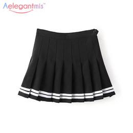 Wholesale Girls School Uniform Skirts - Wholesale- Aelegantmis Sweet Pleated Skirt Women Preppy Style Mini High Waist Skirt Girls Vintage Black White Cute School Uniforms Skirts