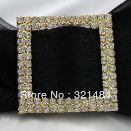 Wholesale Wedding Ribbon Buckles Sliders - Free ship! CRB022 50*50mm Square Crystal Rhinestone Buckles Ribbon Sliders For Gift box bows Wedding Decoration
