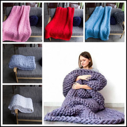 Wholesale Chunky Acrylic Yarn - 14 Colors 60*60cm Chunky Knit Blankets HandCrafted Blanket Sofa Air Condition Bed Woven Yarn Kinitted Throw Photograph Blanket CCA8273 20pcs