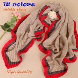Wholesale Zig Zag Headband - Islamic wrinkle hijab long large cotton shawls Patchwork crumple bandana luxury brand winter warm scarves 180*90cm