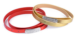 Wholesale Cool Dresses For Women - 200pcs Diamond Crystal Thin Belts Candy Color Charming Belts For Jeans Dress Cool Noble Leather High Quality Women Belts leather PU diamond