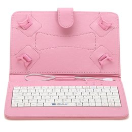Wholesale Purple Pc Keyboard - US Stock! 7 inch Mirco USB Keyboard Case PU Leather Foldable Folding Folio Stand Smart Cover Cases for 7 inch Tablet PC