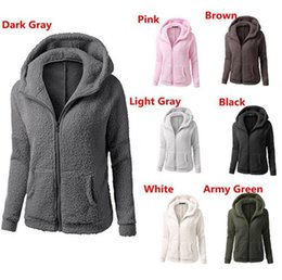 Wholesale Thick Hoodies Wholesale - Solid Color Sherpa Pullover Thick Hoodies Streetwear Women Casual Zipper Collar Sherpa Hoodies Sweater Sweatshirts 30pcs LJJO3746