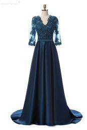 Venda Hot alta Sheer partido azul mangas compridas Vestido Elastic Satin Lace apliques V Neck Com Pérolas Sashes Zipper Mãe dos vestidos de noiva de