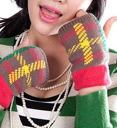 Wholesale Korean Wool Gloves - Wholesale-Half Finger lovely thick winter wool gloves female male Korean couple tide cotton warm mitts computer writing