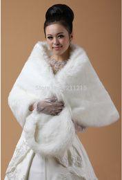 Wholesale Womens White Faux Fur Coat - Plus Size Wedding Bridal Faux Fur Shawl Wrap Cape Shrug Stole High Quality Bridal Accessory Wedding Coat for Womens