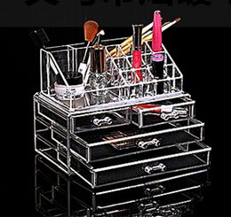 Wholesale Makeup Case Jewelry Box - Hot Make up tools cosmetic stand storage holder cosmetic organizer Clear makeup storage case jewelry box three layes 1155